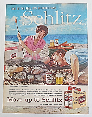 1960 Schlitz Beer With Man & Woman On Beach