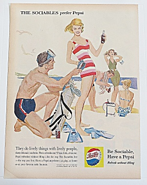 1960 Pepsi Cola With Man & Woman On Beach