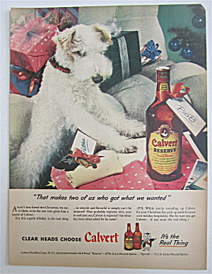 1945 Calvert Whiskey With Puppy Looking At A Bone
