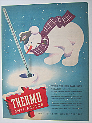 1945 Thermo Anti Freeze With Snowman & Thermometer