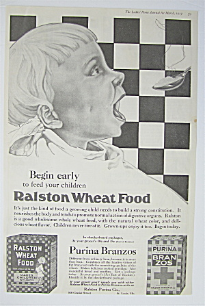 1917 Ralston Wheat Food With Baby Eating