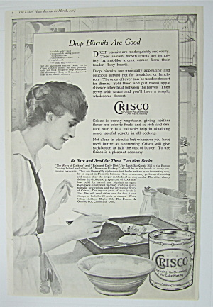1917 Crisco Shortening With Woman Making Drop Biscuits