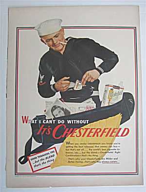 1943 Chesterfield Cigarettes W/ Sailor Packing His Bag