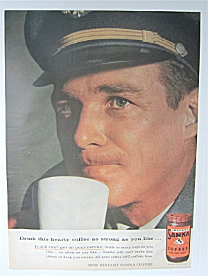 1957 Sanka Instant Coffee With An Airplane Pilot