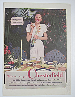 1944 Chesterfield Cigarettes With Woman Smoking