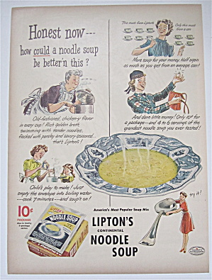 1944 Lipton Noodle Soup With Women & Soup