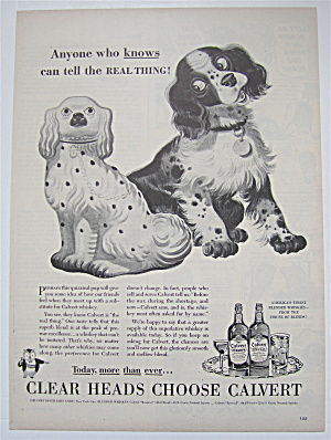 1944 Calvert Whiskey With Dog Looking At Dog Statue