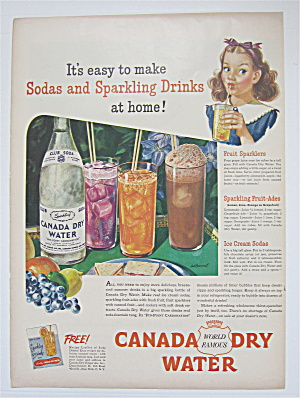 1945 Canada Dry Water With Glasses Of Sparkling Drinks