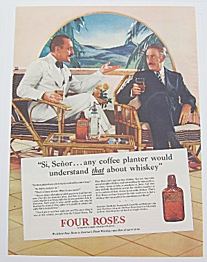 1937 Four Roses Whiskey With Men Talking While Drinking