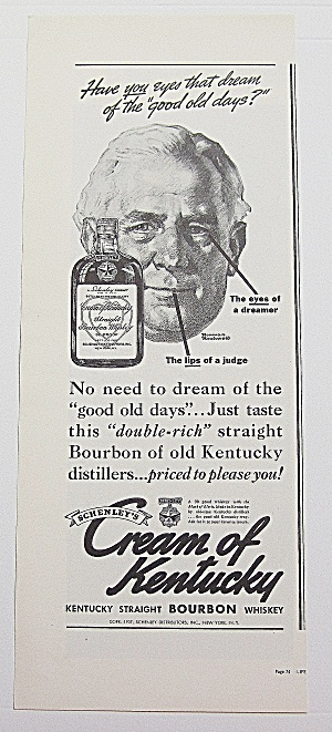 1937 Cream Of Kentucky Whiskey With Man's Face
