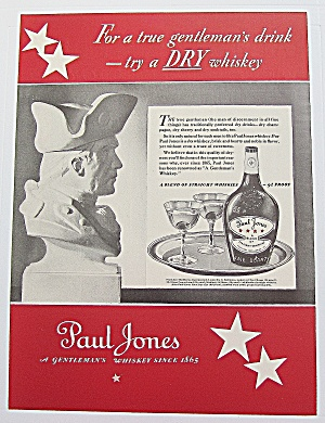 1937 Paul Jones Whiskey With Bust Of Soldier