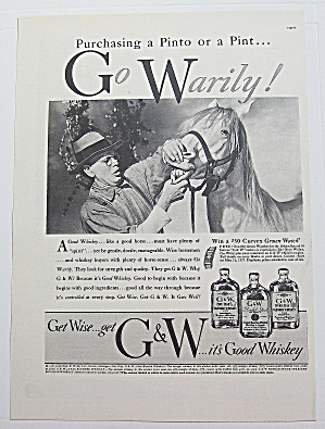 1937 G & W Whiskey With Man Looking At Horse's Teeth