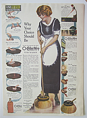 1914 O-cedar Polish Mop With Woman Cleaning