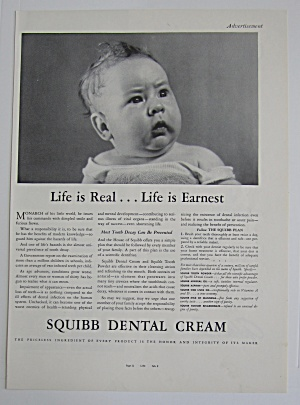 1937 Squibb Dental Cream With Little Baby Looking