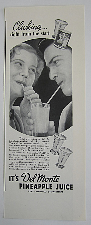 1937 Del Monte Pineapple Juice With Couple Drinking