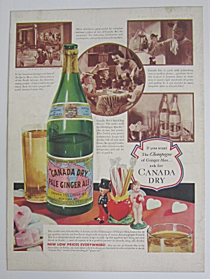1937 Canada Dry Ginger Ale With Bottle Of Ginger Ale