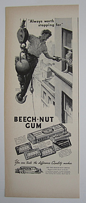 1937 Beech Nut Gum With Man On Wrecking Ball