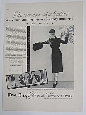 1937 Real Silk Hosiery With Lovely Woman