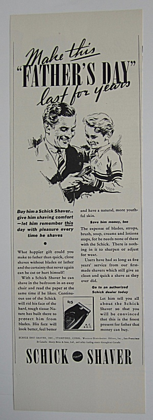 1937 Schick Shaver With Dad On Father's Day