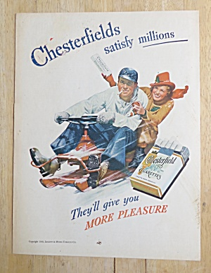 1938 Chesterfield Cigarettes With Man & Woman In Snow