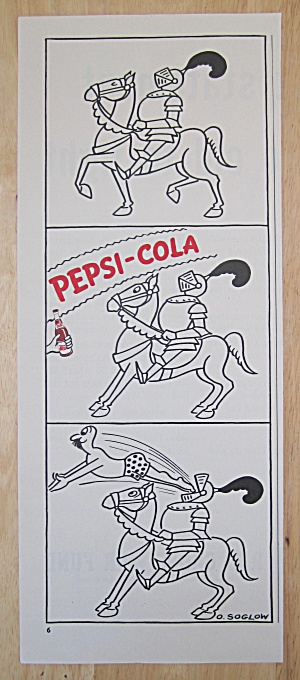 1942 Pepsi Cola With Knight In Shining Armor With Horse