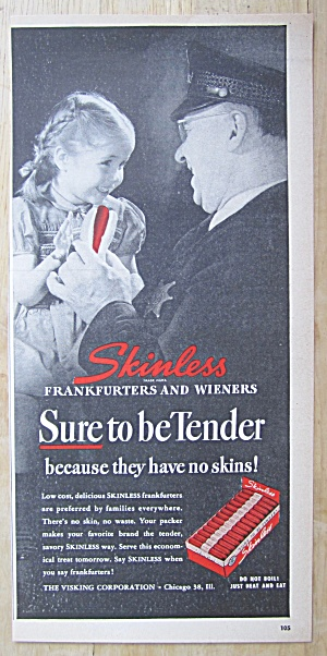 1948 Skinless Frankfurters With Little Girl & Man