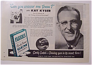 Vintage Ad: 1946 Fleers Candy Coated Gum W/ Kay Kyser