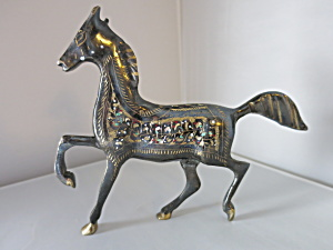 Brass Horse Etched Hand Painted Figurine