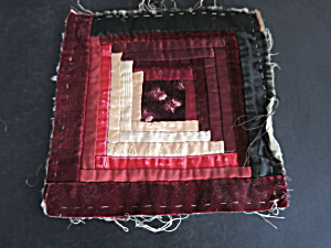 Victorian Log Cabin Quilt Square Velveteen And Silk