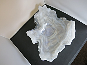 White Opalescent Cased Art Glass Dish Bowl Oyster Shape
