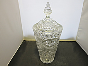 Brilliant Etched Cut Crystal Cookie Jar Unknown Maker