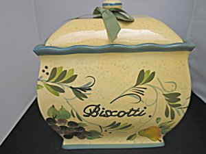 Biscotti Hand Painted Jar Fruit Motif