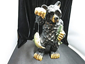 Black Bear With Trout Fish Figurine Statue 13 1/2 Inch