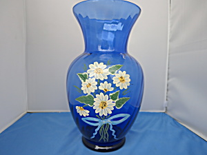 Hand Painted Daisy Cobalt Blue Glass Vase Signed