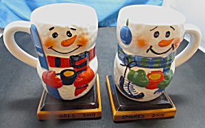 Smores Cup Mug Set Of Two Skier And Skater 2007
