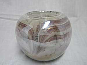 Modern Cased Glass Bud Vase Or Candle Bowl Gold Purple