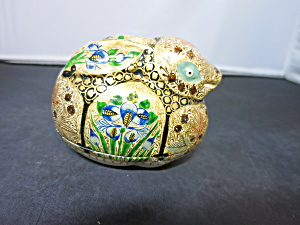 Vintage Painted Lacquer Bunny Rabbit Box India