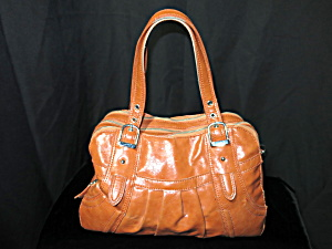 Maxx New York Glazed Orange Leather Satchel Purse Bag