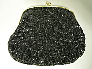 Vintage Black Beaded Clutch Handbag