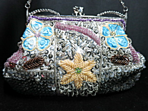 Far Nine Beaded Clutch Hand Shoulder Bag 2 Chain Drops
