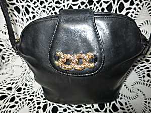 Russel K. Bromley Italy Black Leather Shoulder Bag