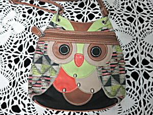 Vintage Owl Shoulder Bag Cross Body Man Made Materials