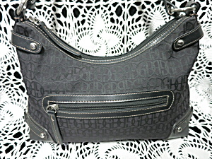 Giani Bernini Black Signature Fabric Hand Bag Purse