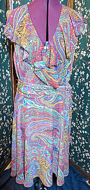 R & K Originals Paisley Print Dress Size 12