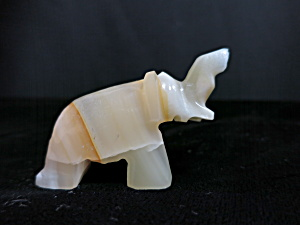 Onyx Carved Miniature Elephant Figurine Trunk Up