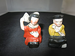 Japanese Geisha Girl And Gent Salt & Pepper Shakers