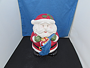 Santa Holding Stocking Cookie Jar Vintage Marked J.i.c.