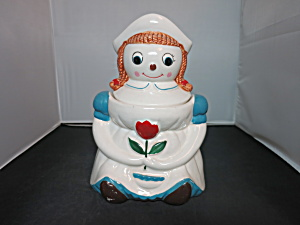 Dutch Girl Holding Tulip Cookie Jar Raggedy Ann Motif