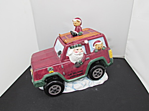 Cooks Club Holiday Christmas Santa Red Jeep Suv