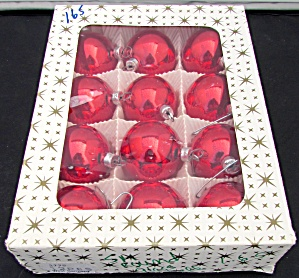 West Germany Boxed Red Glass Christmas Bulb Ornaments